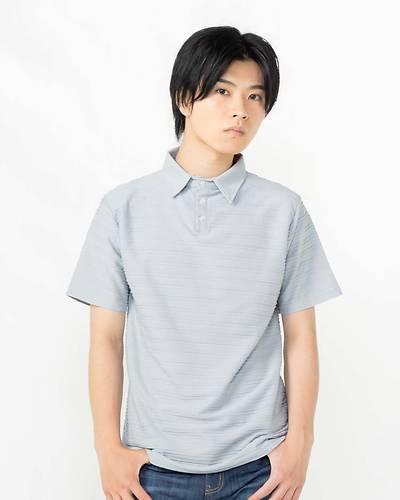 接触冷感タックジャガード半袖ポロシャツ(ブルー)