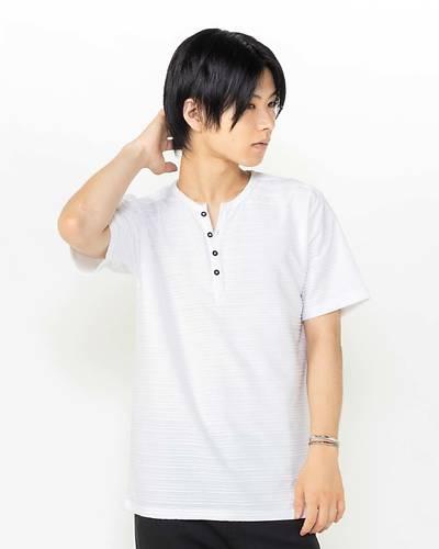 接触冷感タックジャガードヘンリー半袖Tシャツ(ホワイト)