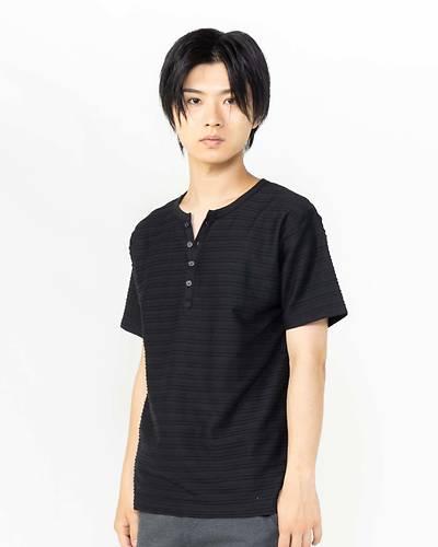 接触冷感タックジャガードヘンリー半袖Tシャツ(ブラック)