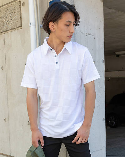 ブロックジャガード半袖ポロシャツ(ホワイト)