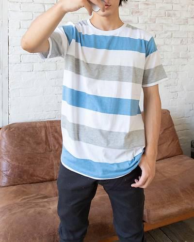 ボーダー半袖Tシャツ(ブルーxグレー)