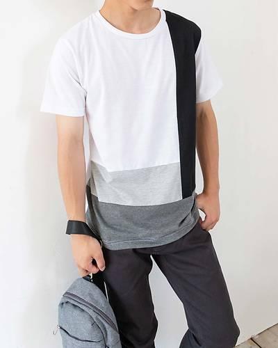 ブロッキング半袖Tシャツ(モノトーン)