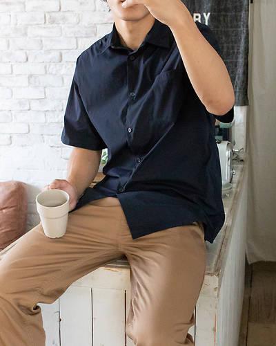 超軽量ストレッチ半袖シャツ(ネイビー)
