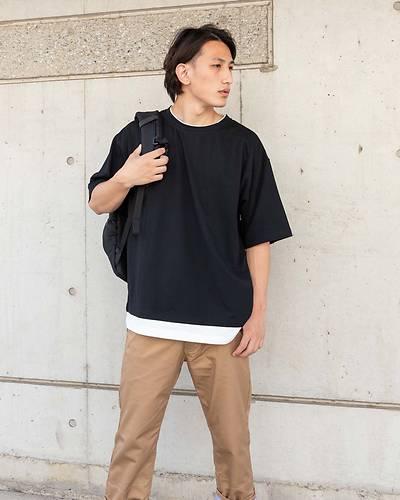 フェイクレイヤード半袖Tシャツ(ブラック)