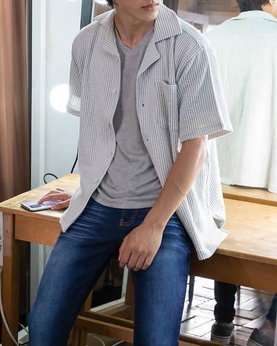 シアサッカー半袖シャツ(ホワイト×グレー)