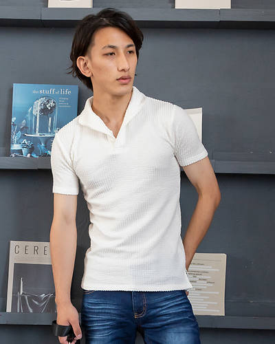 シアサッカー襟ワイヤー半袖ポロシャツ(ホワイト)