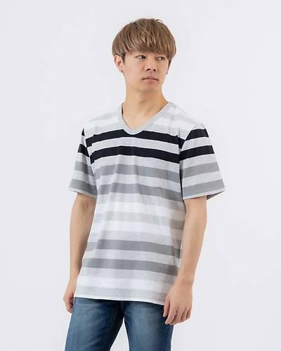 Vネック半袖転換ボーダーTシャツ(グレー)