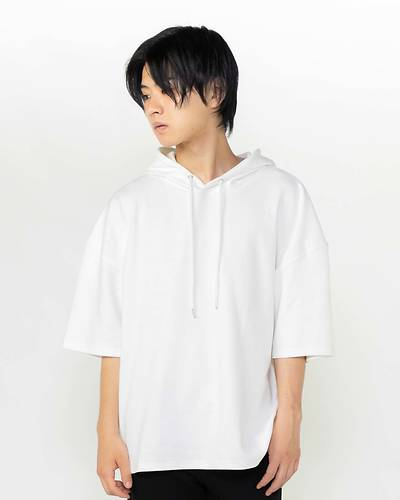 半袖ビックプルパーカー(ホワイト)