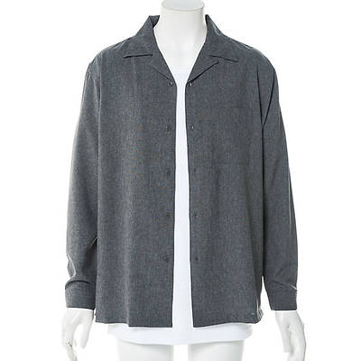 長袖オープンカラーシャツ+半袖VネックTシャツアンサンブル(2点セット)(杢チャコール)