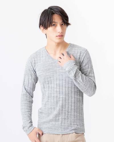 トリッキー杢ランダムテレコVネック長袖Tシャツ(グレー)