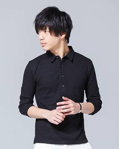 テレコ七分袖ポロシャツ(ブラック)