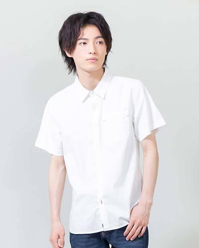 綿麻ストレッチ半袖シャツ(ホワイト)