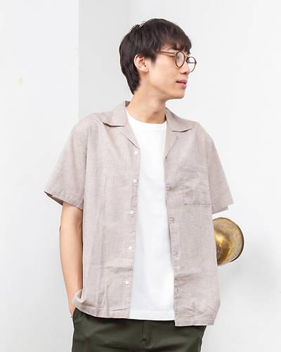綿麻ストレッチオープンカラー半袖シャツ(モカ)
