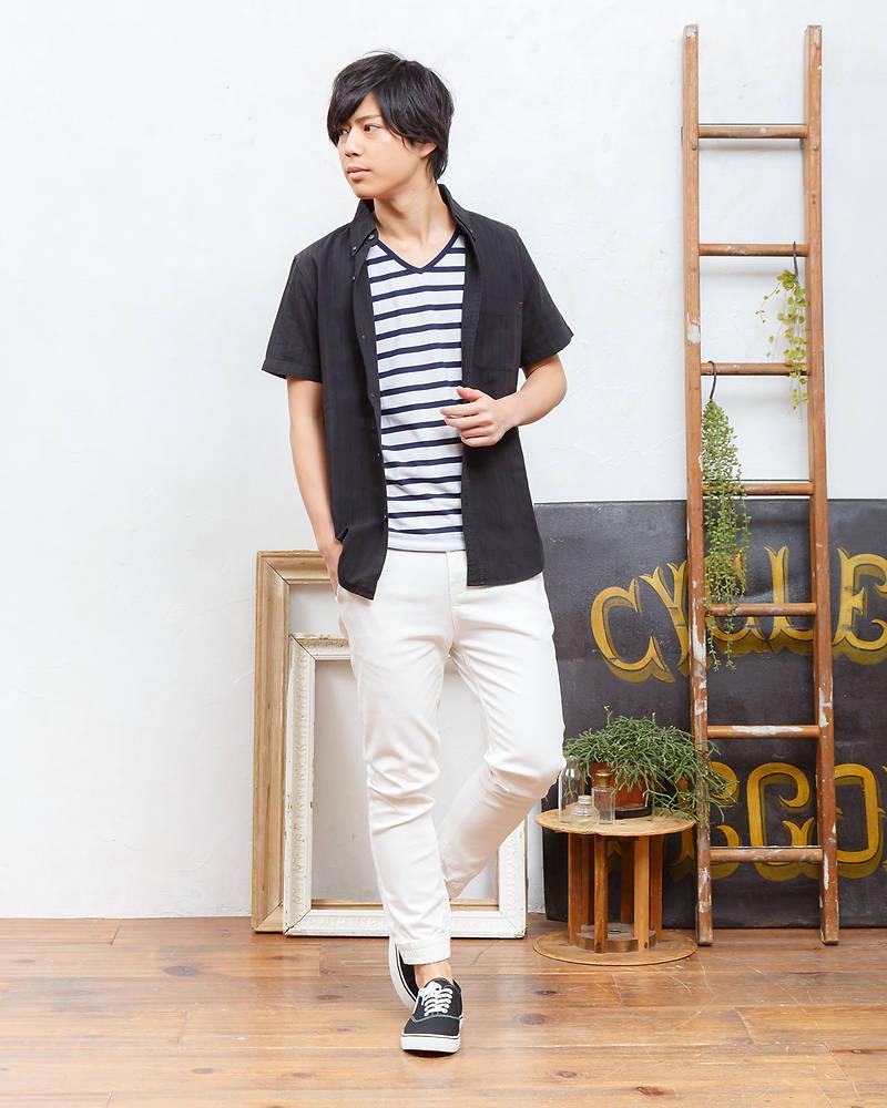 db8410e28dd6b おすすめコーディネート. 半袖シャツ+半袖Tシャツ×クロップドパンツ(2点セット). デートに ...