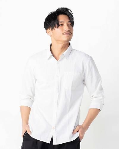 綿麻ストレッチ七分袖シャツ(ホワイト)