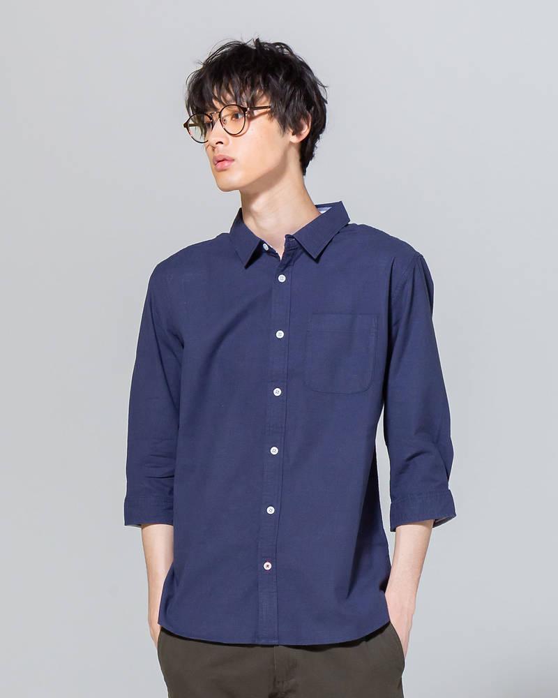 綿麻ストレッチ七分袖シャツ(ネイビー)