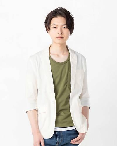 綿麻ストレッチ七分袖テーラードジャケット(キナリ)