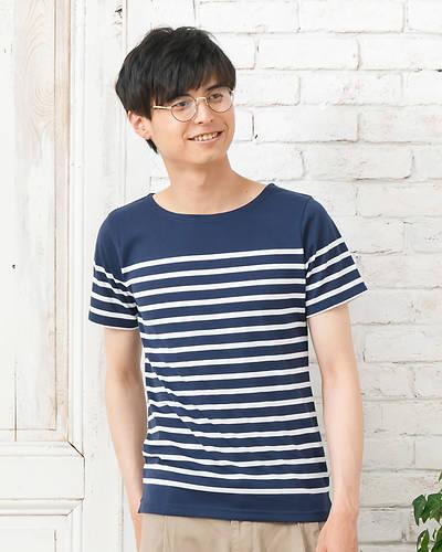 半袖パネルボーダーボートネックTシャツ(ネイビー×ホワイト)