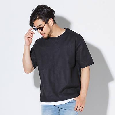 半袖クルーネック布帛Tシャツ+ロング丈タンクトップアンサンブル(2点セット)(ブラック)