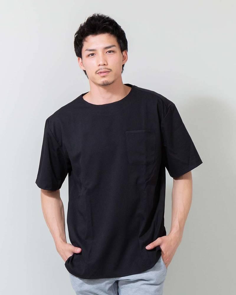 TR素材クルーネック半袖Tシャツ(ブラック)