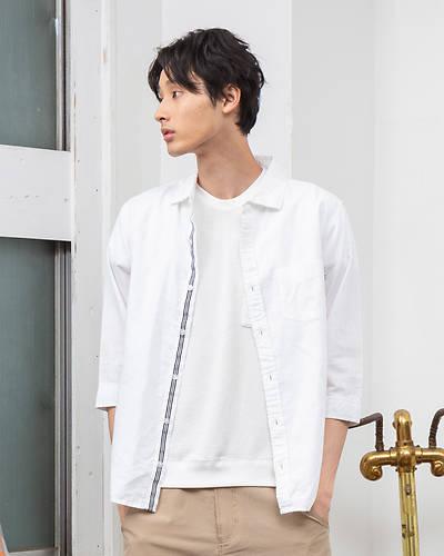 麻七分袖シャツ(ホワイト)