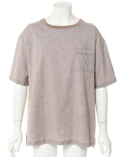 綿麻ストレッチ半袖Tシャツ(モカ)