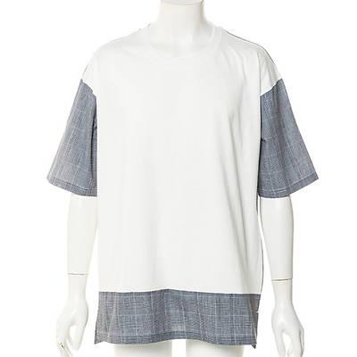 天竺チェック切替半袖Tシャツ(ホワイト)