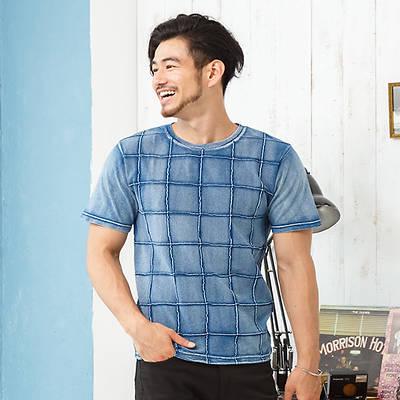 前身ピンタック半袖Tシャツ(ブルー)