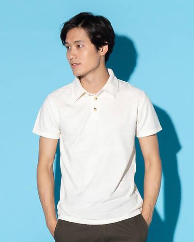 リーフジャガード柄ポロシャツ(ホワイト)