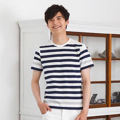 ボーダークルー半袖Tシャツ(モノトーンミックス)