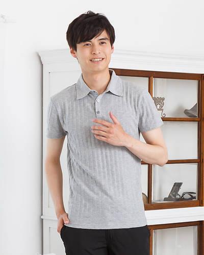 変形ジャガード柄ポロシャツ(グレー)