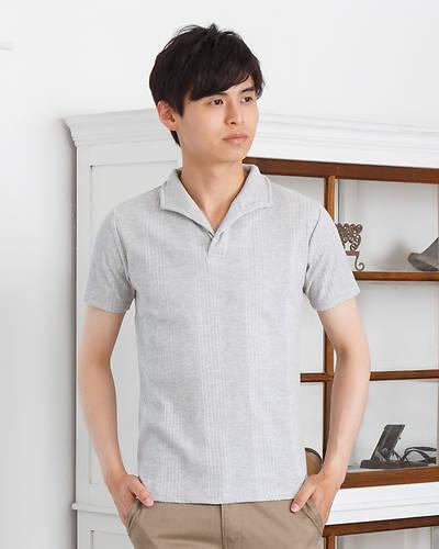 ランダムテレコ襟ワイヤーポロシャツ(杢グレー)
