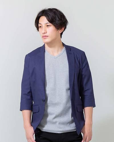 綿麻ストレッチ七分袖テーラードジャケット(ネイビー)