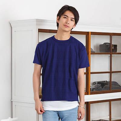 半袖クルーネックTシャツ+タンクトップアンサンブル(2点セット)(ブルー)