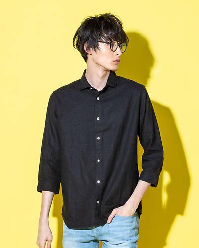 フレンチリネンレーヨン七分袖シャツ(ブラック)