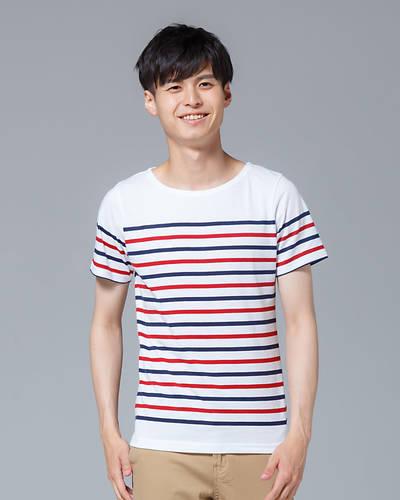 半袖パネルボーダーボートネックTシャツ(ネイビー×レッド)
