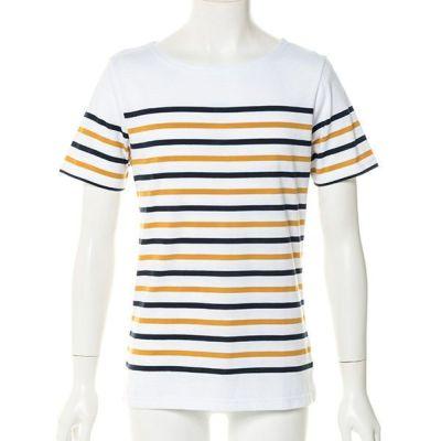 半袖パネルボーダーボートネックTシャツ(ネイビー×マスタード)